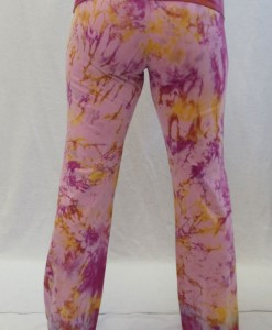 Organic Cotton Foldover Waist Yoga Pant - Pink/Raspberry Tie-dye Back View