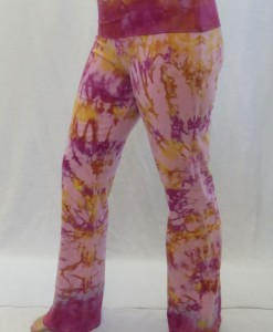 Organic Cotton Foldover Waist Yoga Pant - Pink/Raspberry Tie-dye by Blue Lotus Yogawear. 4-way Stretch, Pre-shrunk, Easy Care, Made in USA