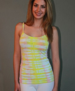 Yoga Cami - White/Yellow/Peach Tie-dye