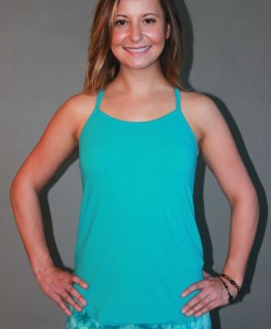 Y-Back Yoga Cami with Bra - Turquoise