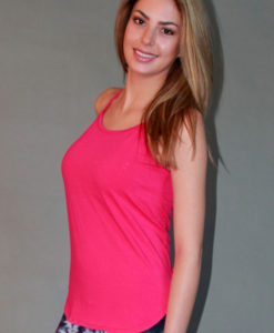 Y-Back Yoga Cami with Bra - Fuschia