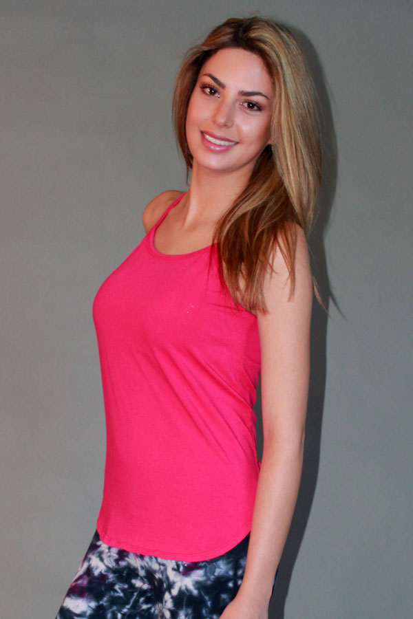 Y-Back Yoga Cami with Bra - Fuschia by Blue Lotus Yogawear