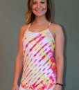 Y-Back Yoga Cami with Bra - White/Yellow/Fuschia