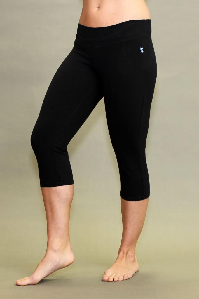 Organic Cotton Crop Yoga Legging - Black