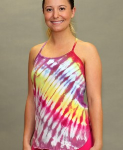 Y-Back Yoga Cami with Bra - Fuchsia/Red/Yellow