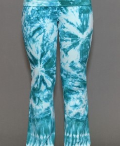 Organic Cotton Fold-over Waist Yoga Pant - Aqua Tie-dye