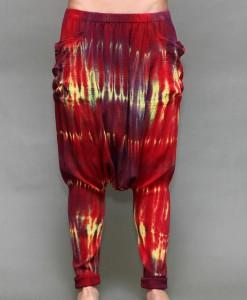 Tie-Dye Gauze Harem Yogini Pant - Red/Yellow