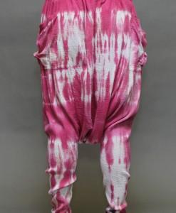 Tie-Dye Gauze Harem Yogini Pant - Pink/White