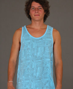 Men's Printed Yoga Tank - Blue