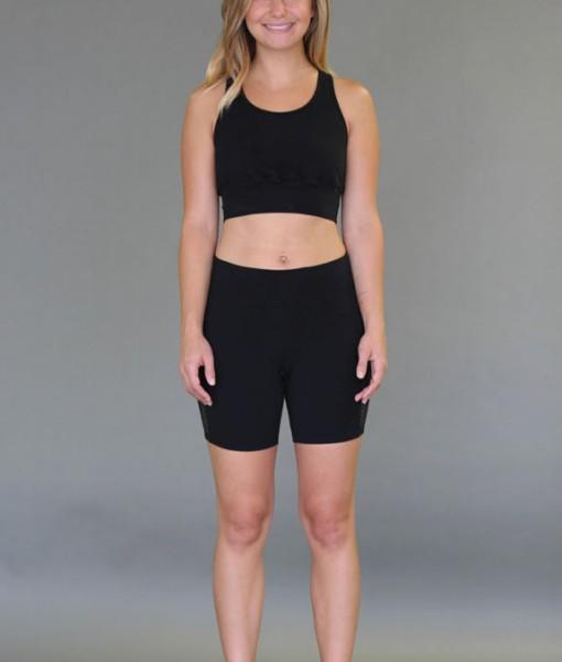 Mesh Back Yoga Crop Top Bra - Black