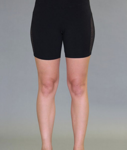Mesh Cutout Yoga Short - Black