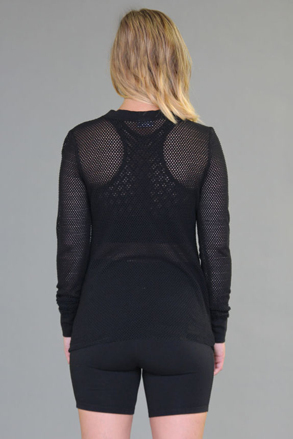 Mesh Long Sleeve Yoga Top - Black