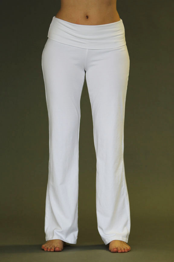 Organic Cotton Fold over Waistband Yoga Pant - Kundalini White by Blue Lotus Yogawear