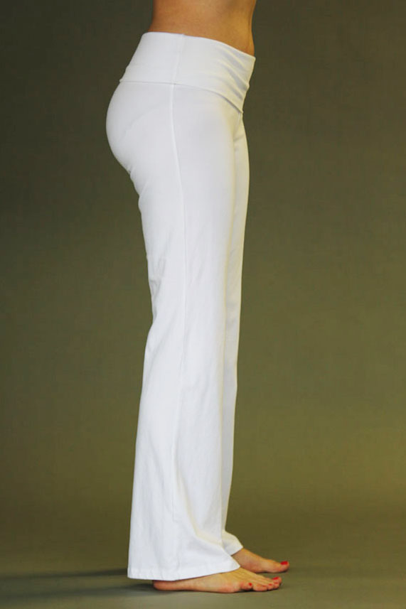 Organic Cotton Fold-over Waistband Yoga Pant - Kundalini White