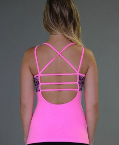 Caged Open-Back Yoga Top - Neon Pink with Black Lace