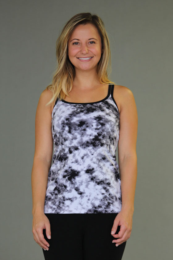 Tie-dye Caged Open-Back Yoga Top - Black & White by Blue Lotus Yogawear