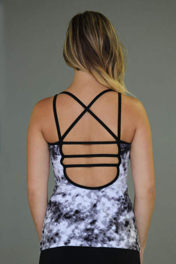 Tie-dye Caged Open-Back Yoga Top - Black & White