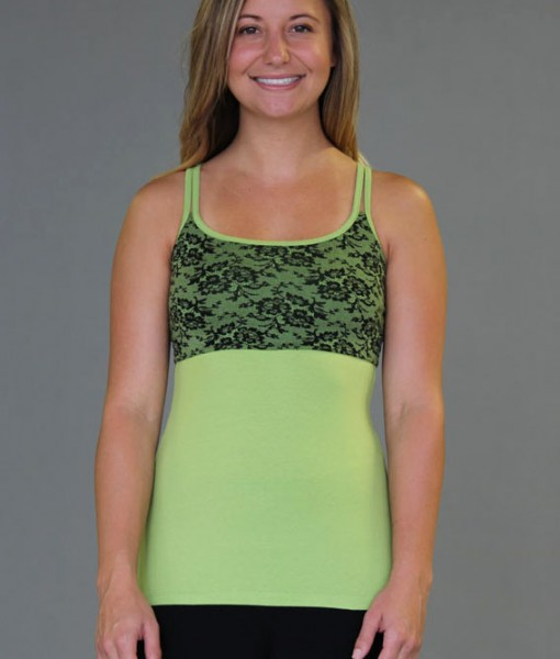 Caged Open-Back Yoga Top - Kiwi with Black Lace