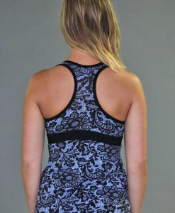 Racer Back Lace Yoga Top with Bra - Blue/Black