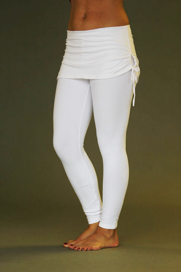 Organic Cotton Yoga Skirted Legging - Kundalini White by Blue Lotus Yogawear