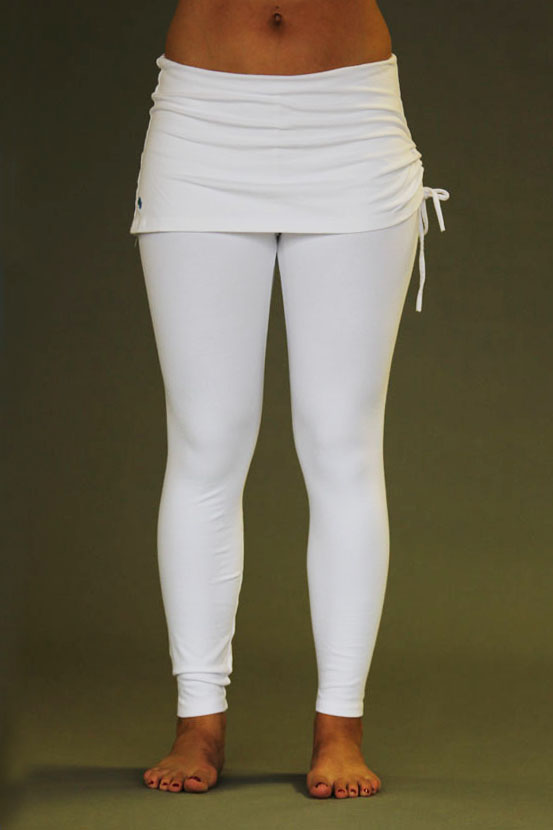 Organic Cotton Yoga Skirted Legging - Kundalini White
