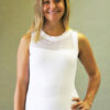 Organic Cotton Mesh Yoke Tank with Inside Shelf Bra - Kundalini White by Blue Lotus Yogawear
