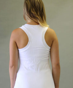 Mesh Yoke Top with Bra - Kundalini White