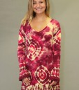 Tie-dye Gauze Long Sleeve Tunic Dress - Ruby & Daffodil