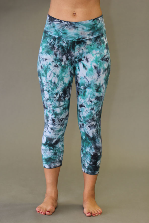 Organic Cotton Yoga Legging - Turquoise/Black Tie-dye by Blue Lotus Yogawear