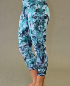 Organic Cotton Crop Yoga Legging - Turquoise/Black Tie-dye