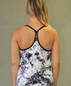 Y-Back Yoga Cami with Inside Bra - Black & White Print
