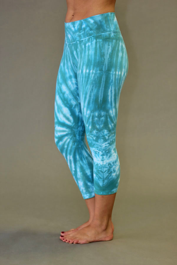 Organic Cotton Crop Yoga Legging - Jade Spiral Tie-dye