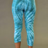 Organic Cotton Crop Yoga Legging - Aqua Spiral Tie-dye