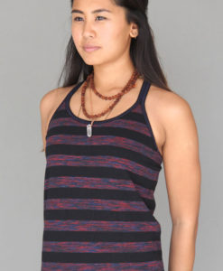 Variegated Stripe Double Y-back Cami with Built-in Bra and Contrast Stitching by Blue Lotus Yogawear
