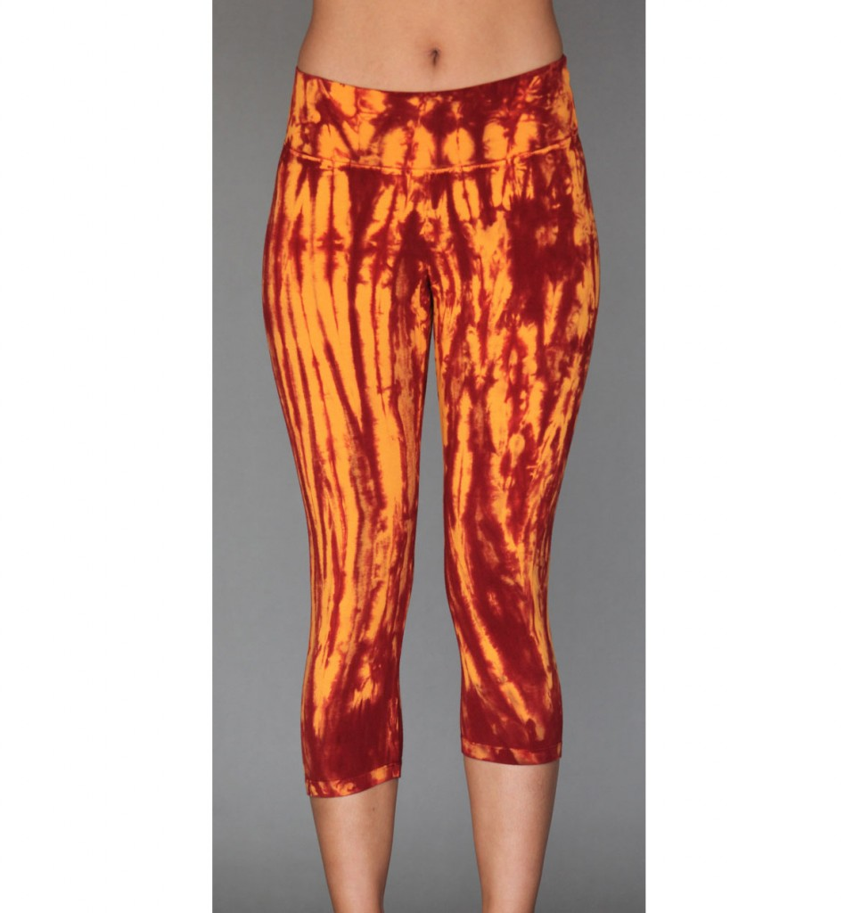 Organic Cotton Crop Yoga Legging - Inner Fire Tie Dye by Blue Lotus Yogawear