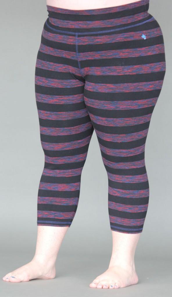 Variegated Stripe Cotton Lycra Crop Yoga Legging XXL by Blue Lotus Yogawear
