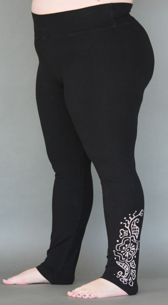 Organic Cotton Yoga Legging - Mehndi Hand-painted Design by Blue Lotus Yogawear