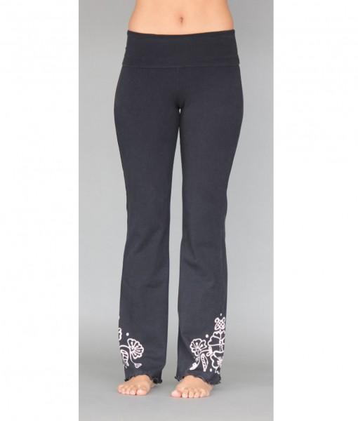 Organic Cotton Hand-painted Mehndi Design Fold-over Waistband Yoga Pant By Blue Lotus Yogawear