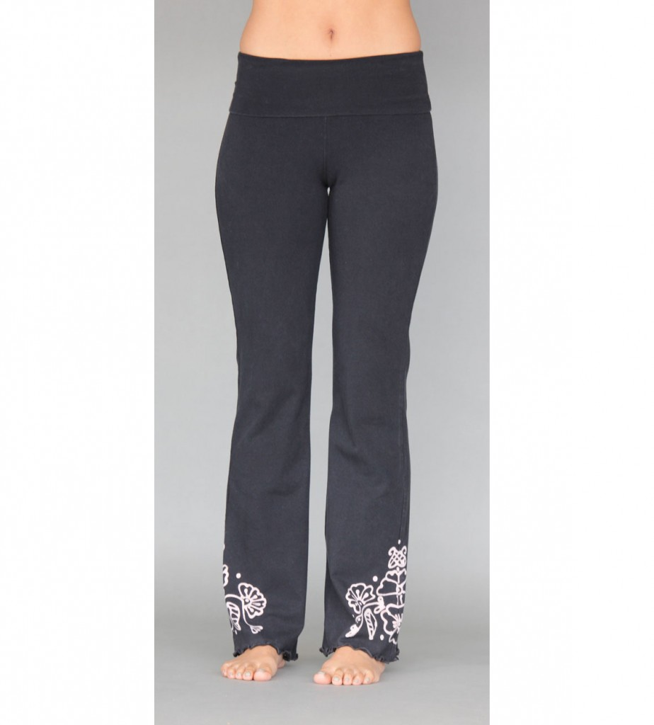 Organic Cotton Hand-painted Mehndi Design Yoga Pant- Black By Blue Lotus Yogawear