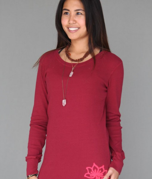 Ribbed Long Sleeve Tunic with Hand-painted Lotus Flower by Blue Lotus Yogawear