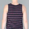 Men's Stripe Yoga Tank - Black and Red back by Blue Lotus Yogawear