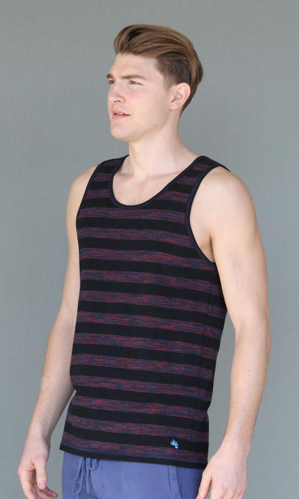 Men's Stripe Yoga Tank - Black and Red by Blue Lotus Yogawear