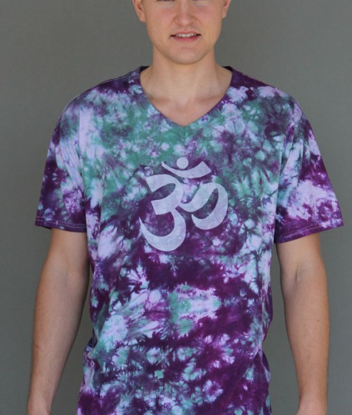 Men's Granite Dye OM Tee Purple/Jade by Blue Lotus Yogawear