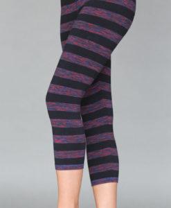 Variegated Stripe Cotton Lycra Crop Yoga Legging by Blue Lotus Yogawear