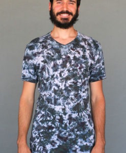 Men's Granite Dye V-Neck - Black Tie-dye Mens Clothing