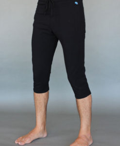 Men's Organic Cotton 4-way Stretch Black Capri Length Yoga Pant by Blue Lotus Yogawear. Pre-shrunk, Easy Care, Made in USA