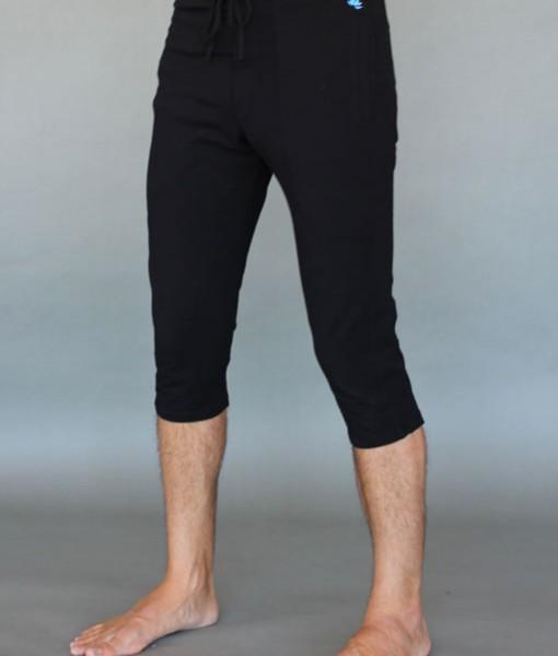 Men's Organic Cotton 4-way Stretch Black Capri Length Yoga Pant by Blue Lotus Yogawear