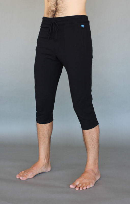 Men's Organic Cotton 4-way Stretch Capri Yoga Pant - Black by Blue Lotus Yogawear
