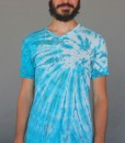 Men's Tie Dye V-Neck Yoga Cut Tee- Turquoise Spiral by Blue Lotus Yogawear