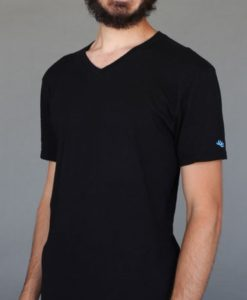 Men's Solid V-Neck Yoga Cut Tee- Black by Blue Lotus Yogawear